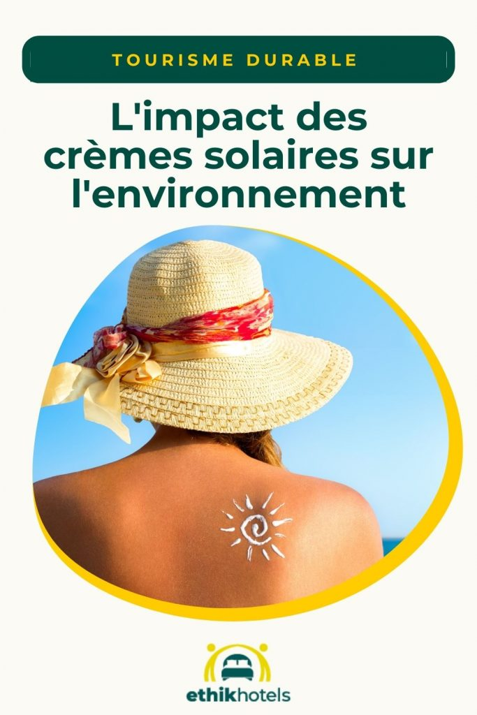 Creme solaire - visuel Pinterest 1 - Photo d'une femme de dos dans un rond avec un chapeau de paille et sur l'epaule un soleil dessiné avec la creme solaire