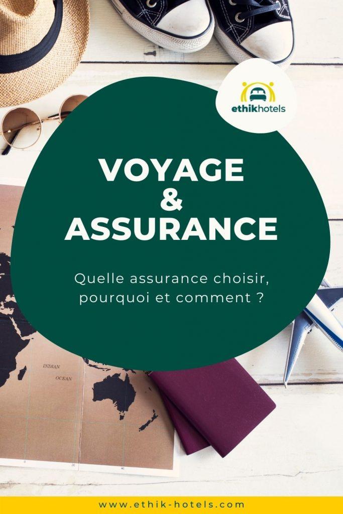 Assurance voyage - visuel Pinterest 1 - le contenu d'une valise posé au sol (cahpeau, converse noire et blanc, carte du monde, passeport)