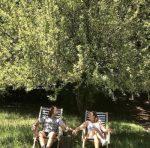 Ingrid et Anais dans des chiliennes avec des rayrues horizontales bleu et blanches à l'ombre des arbres