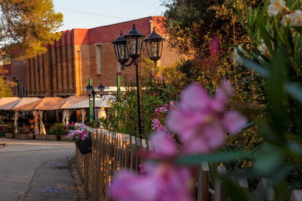 Bâtiment couleur brique avec lampadaires et fleurs roses devant