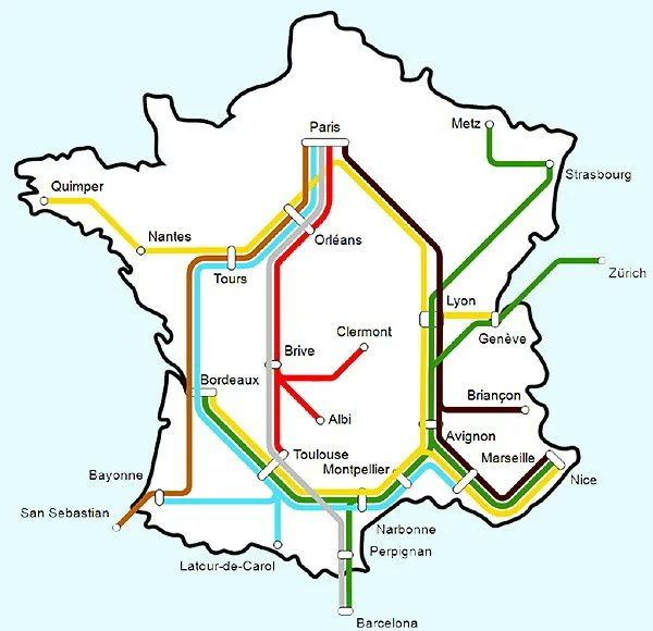 travel by train in europe - Map of night trains in France
