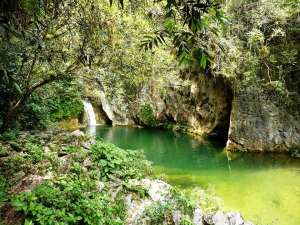 chute d'eau et piscine naturelle