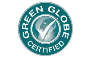 green globe logo label