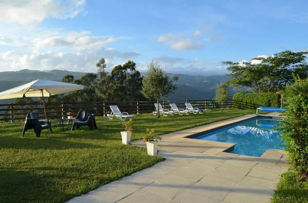 Photo de la piscine entourée d'herbe avec des transats blancs dessus et la vue panoramique derrière