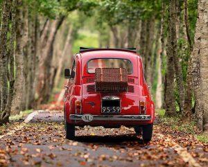 Fiat 500 rouge avec un panier en osier derrière sur une route bordée d'arbres