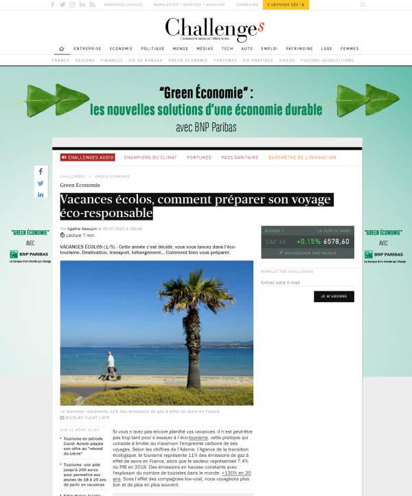 Capture ecran article challange.fr Vacances écolos, comment préparer son voyage éco-responsable
