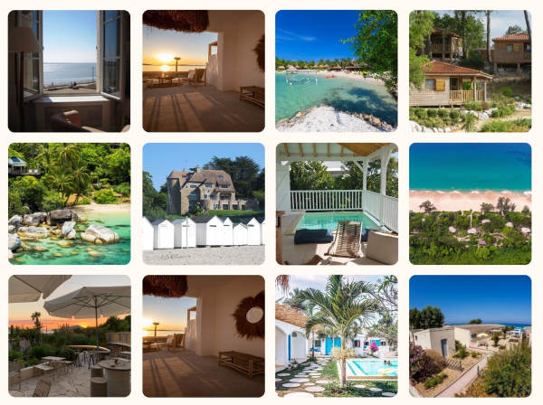 Photo mosaic of 12 responsible hotels by the sea