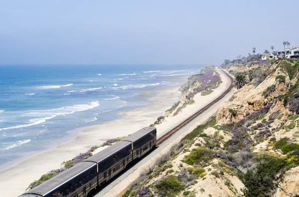 ecological holiday sea: train along a sandy beach and flowery dunes