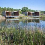 Photo de deux écolodges construit en bois et installé en partie sur des pilotis sur un étang. Ils sont de forme géométriques modernes et belles terrasses