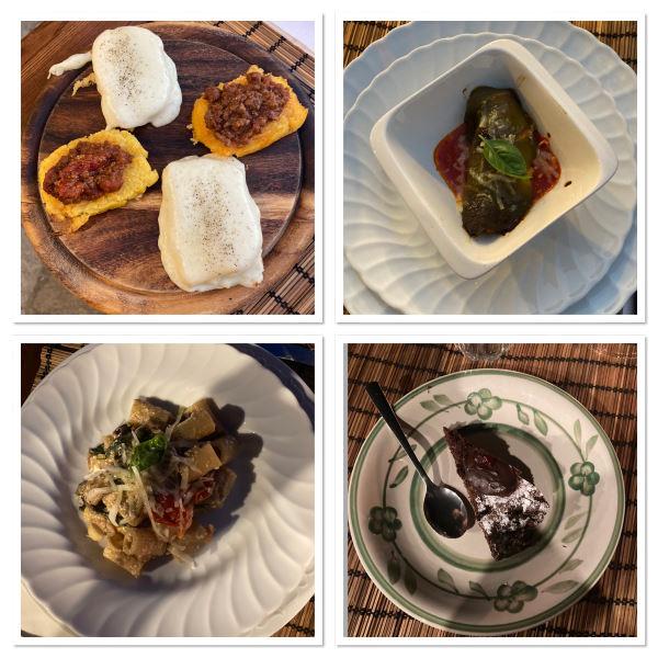 Mosaique photos de certains des plats que vous avons dégusté à la fontaccia