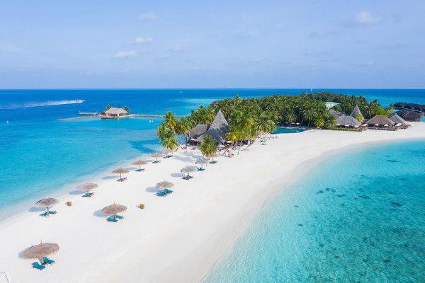 Photo vue du ciel de l'ile on y voit l'hotel protégé et entouré de palmiers, des transats sous des parasols sur une plage de sable blanc et la mer émeraude qui entoure l'ile