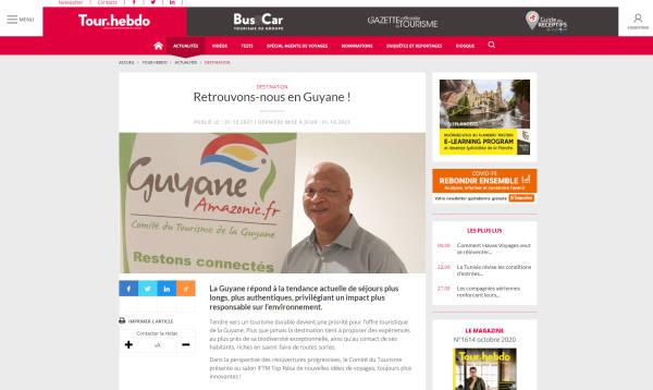 Interview de Jean-Luc Le West, président du comité du tourisme de Guyane, dans Tour Hebdo