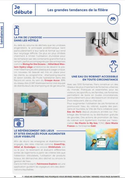 Capture ecran dans la page 14 du guide Sortir du plastique à usage unique à Paris où est mentionné Ethik Hotels