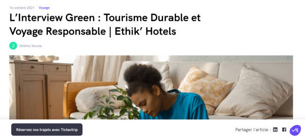 capture ecran interview ethik hotels sur tictactrip